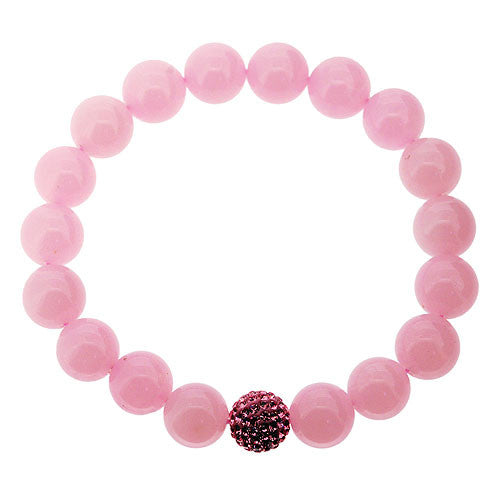 Pretty Baby Pink Quartzite and Pink Crystal Bead Stretch Bracelet