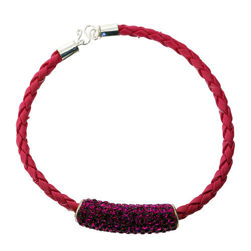 Fuschia Pink Leather Style Bracelet with a Swarovski Crystal Bead