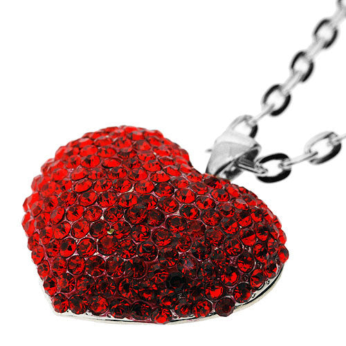 Large Sparkling Heart Pendant Necklace with Scarlet Red Diamantes  on a 46 Centimetre Necklace