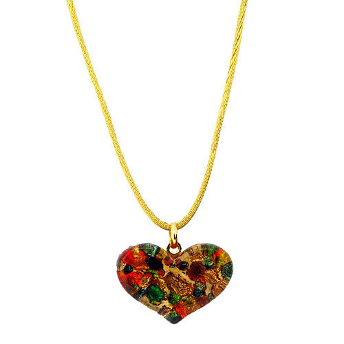 Venetian Heart Murano Glass Multicolour 24 Carat Gold Foil Pendant Necklace