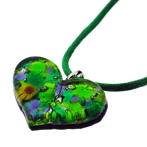 Venetian Heart Shape Murano Glass Green and Lilac 925 Sterling Silver Foil Pendant Necklace