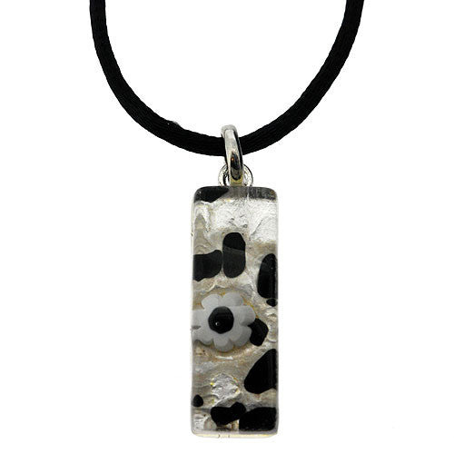 Venetian Murano Glass Rectangle Black and White 925 Sterling Silver Foil Pendant Necklace