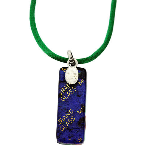 Venetian Murano Glass Rectangle Green and Lilac 925 Sterling Silver Foil Pendant Necklace