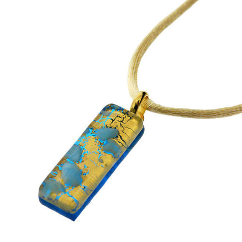 Venetian Murano Glass Rectangle Turquoise and 24 Carat Gold Foil Pendant Necklace