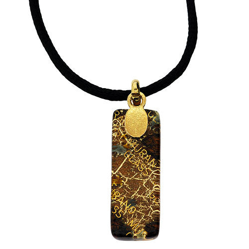 Venetian Murano Glass Rectangle Black Spot 24 Carat Gold Foil Pendant Necklace