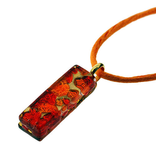 Venetian Murano Glass Rectangle Red and Amber 24 Carat Gold Foil Pendant Necklace