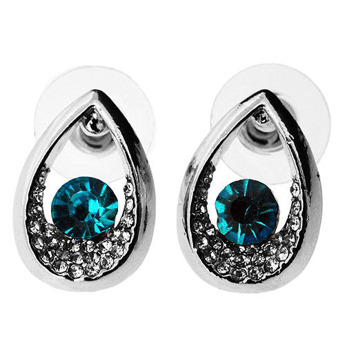 Turquoise Blue and White Sparkling Cubic Zirconia Teardrop Stud Earrings