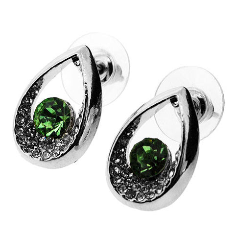 Leaf Green and White Sparkling Cubic Zirconia Teardrop Stud Earrings