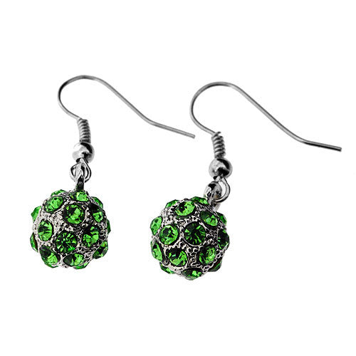 Leaf Green Swarovski Crystal Shamballa Ball Gemstone Drop Earrings