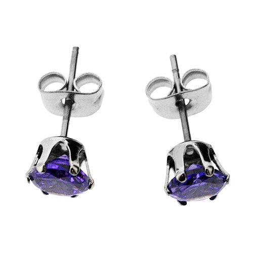 Pretty Purple Sparkling Cubic Zirconia Stud Earrings