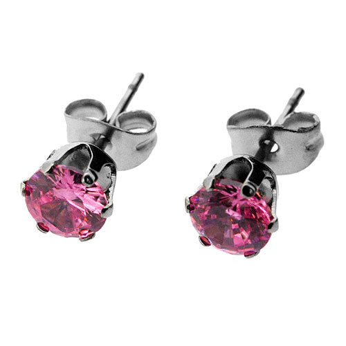 Sparkling Baby Pink Cubic Zirconia Stud Earrings