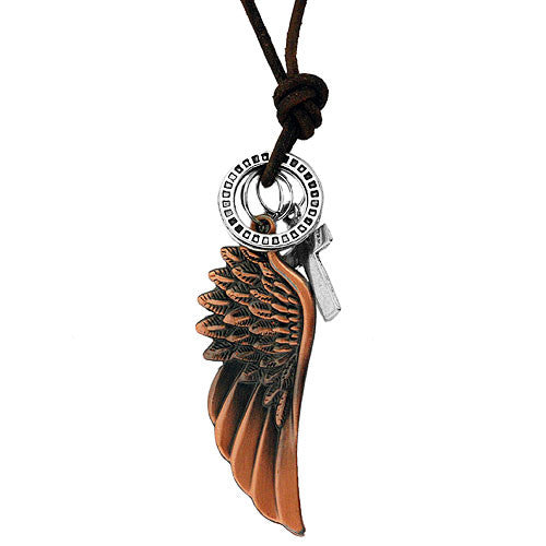 Boho Angel Wing and Pendant Charms on an Adjustable Leather Style Cord