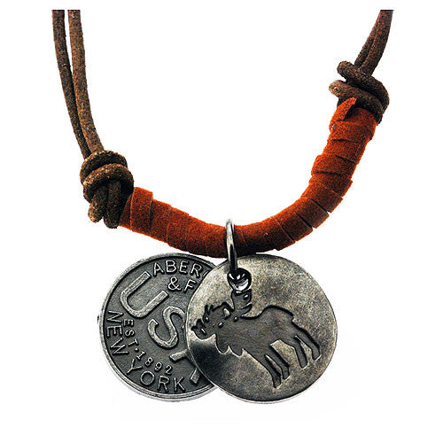 New York Pendant Charms on a 50 cm Leather Style Cord Necklace