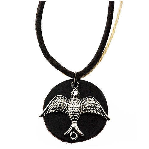 Dove Round Leather Shaped Pendant on a 50 cm Leather Style Cord Necklace