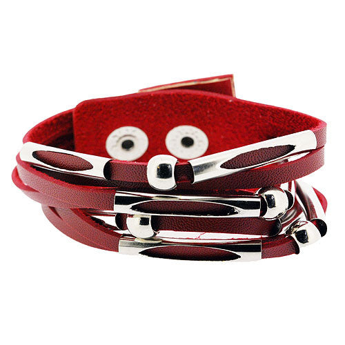 Boho Red Leather Style Cuff Bracelet with Silver Beads and Bands and Adjustable Stud Fastening