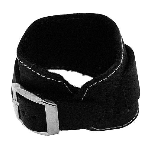 Boho Black Leather Style Cuff Bracelet with Adjustable Buckle Fastening
