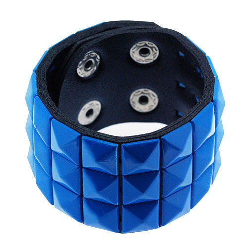 Boho Black Leather Style Cuff Bracelet with Electric Blue Studs and Adjustable Fastening