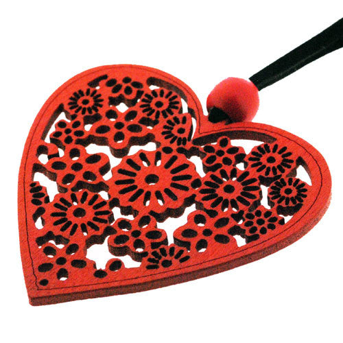 Scarlet Red Filigree Wood Heart Pendant on an Adjustable Cord Necklace