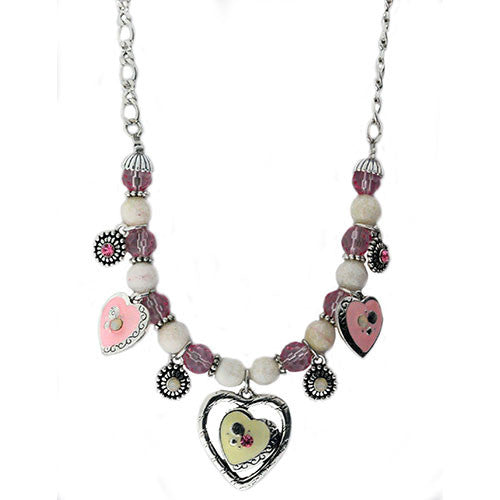Pink and Crystal Heart Necklace and Earring Set