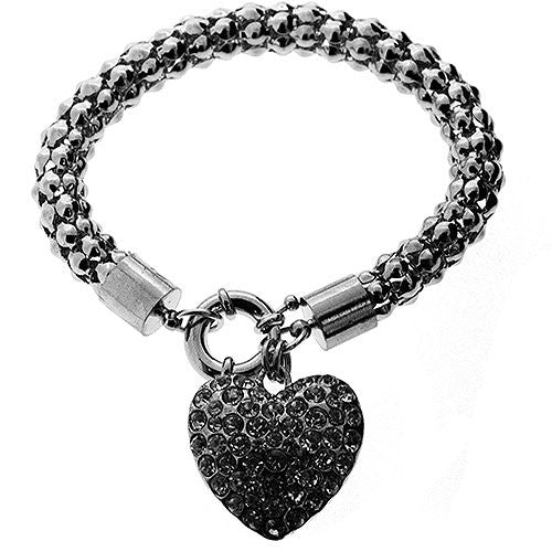 Silver Charm Bracelet With Chunky Crystal Heart