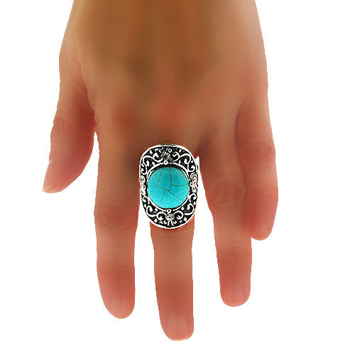 Oval Turquoise and Crystal Silver Filigree Ring
