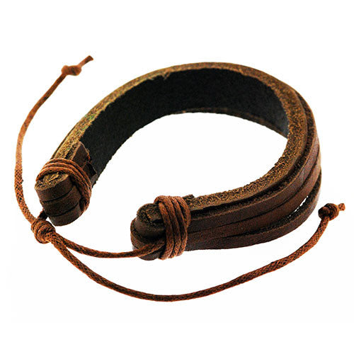 Boho Brown Leather Style Adjustable Cuff