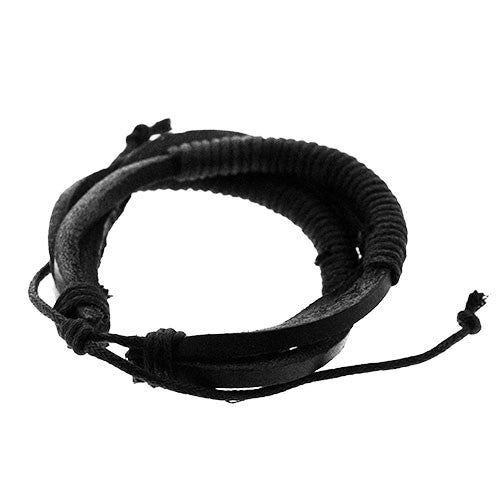 Black Triple Band Leather and Cord Adjustable Bracelet