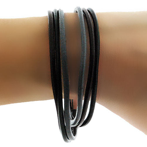 Leather Double Wrap Bracelet and Necklace in Mixed Colours with Magnetic Clasp