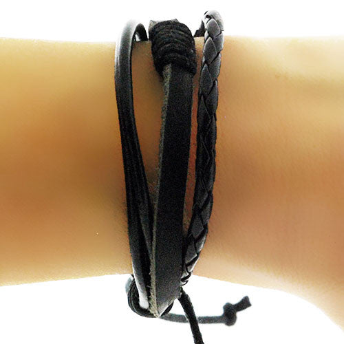 Boho Black Plaited Adjustable Leather Bracelet
