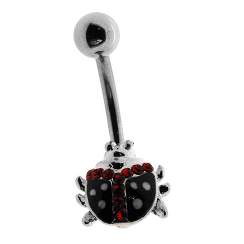 Ladybird Black and Red Crystal Navel Ring