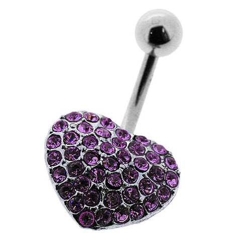 Navel Ring With Pave Purple Crystal Heart