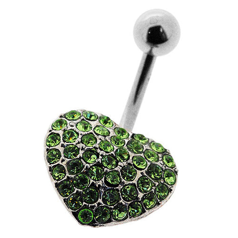 Navel Ring With Pave Light Green Crystal Heart
