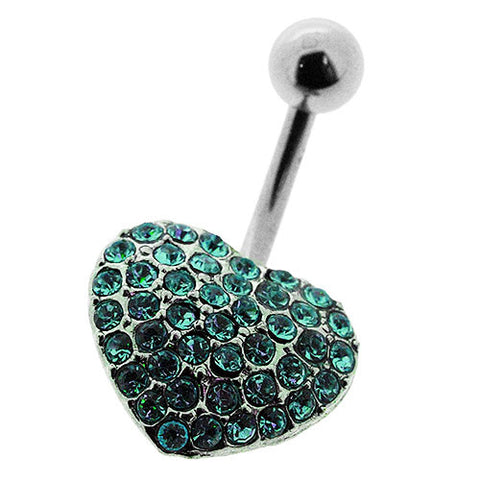 Navel Ring With Turquoise Blue Crystal Heart