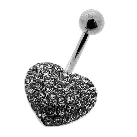 Navel Ring With Pave Diamond White Crystal Heart