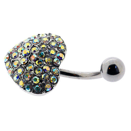 Navel Ring With Pave Aurora Borealis Crystal Heart