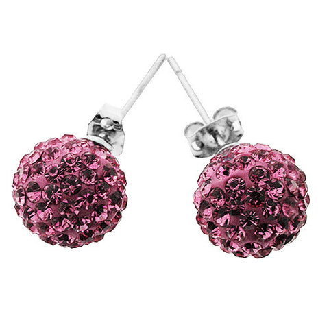 Pink Sparkling Crystal Ball Stud Earrings
