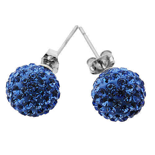 Bright Blue Sparkling Crystal Ball Stud Earrings