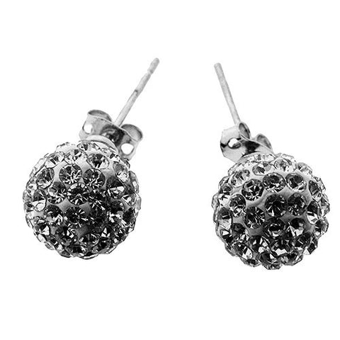 Bright White Sparkling Crystal Ball Stud Earrings