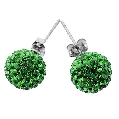 Leaf Green Sparkling Crystal Ball Stud Earrings