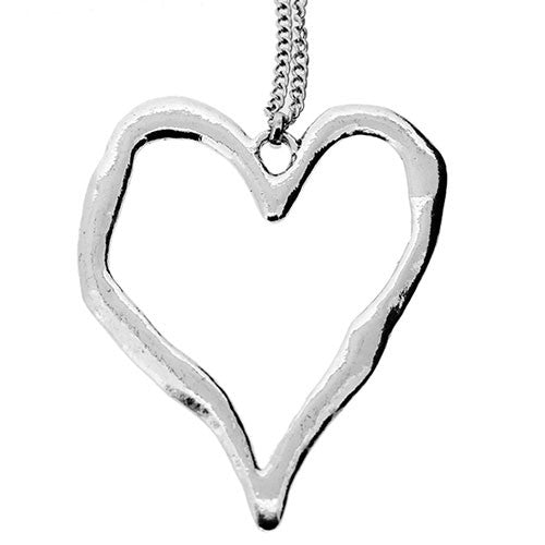 Large Silver Metalwork Heart Long Sweater Necklace