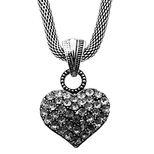 Silver Charm Necklace With Chunky Crystal Heart
