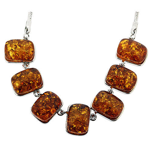 Chunky Faux Amber and Silver Pendant Necklace
