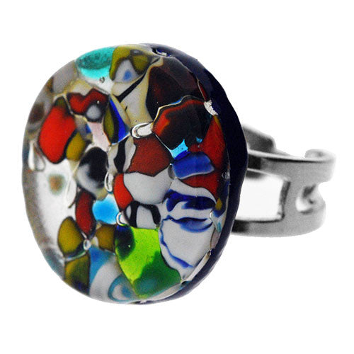 Venetian Murano Glass Silver Pebble Adjustable Round Ring