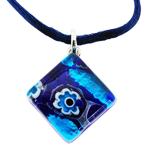 Venetian Murano Glass Turquoise Blue and Silver Pendant Necklace