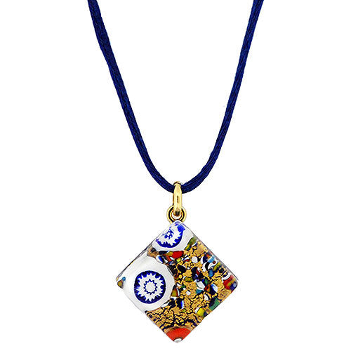 Venetian Murano Glass Gold Fantasia Pendant Necklace
