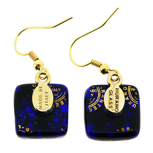 Venetian Murano Glass Gold Fantasia Square Earrings