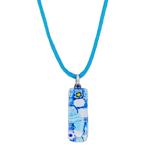 Venetian Murano Glass Turquoise Flower Rectangle Pendant Necklace