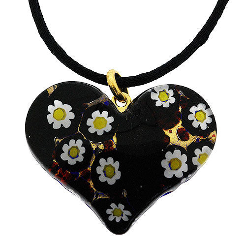 Venetian Murano Glass Gold Daisy Heart Pendant Necklace