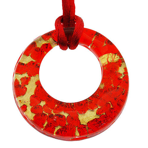 Venetian Murano Glass Red and Gold Open Circle Pendant Necklace