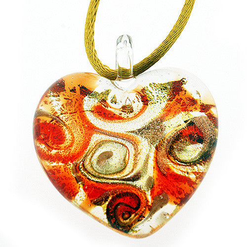 Venetian Murano Glass Red and Gold Chunky Heart Necklace